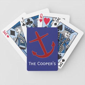 Jeu De Cartes Rouge sur les cartes de jeu de penchement bleues d