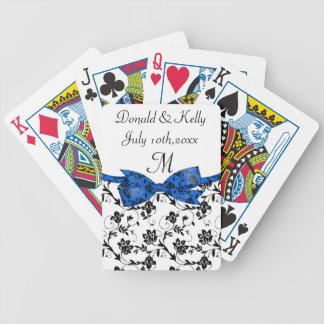 Jeu De Cartes Satin blanc et bleu noir de mariage floral