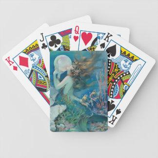 Jeu De Cartes Sirène vintage avec des cartes de jeu de perle