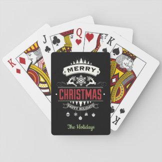 Jeu De Cartes Typographie de Noël/vacances heureuses Joyeux Noël