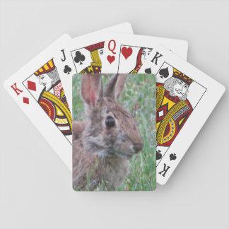 Jeu De Cartes Un lapin dans des cartes de jeu de fleurs sauvages