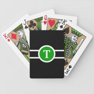 Jeu De Cartes Vert décoré d'un monogramme de ~