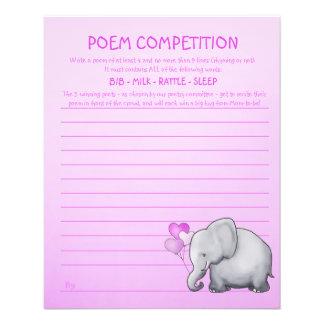 Jeu de concurrence de poème de baby shower prospectus 11,4 cm x 14,2 cm