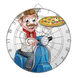 Jeu De Fléchettes Chef de pizza de bande dessinée sur le scooter de