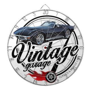 Jeu De Fléchettes Garage vintage avec Corvette noire