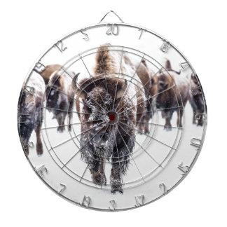 Jeu De Fléchettes La neige a couvert le bison, le parc national en