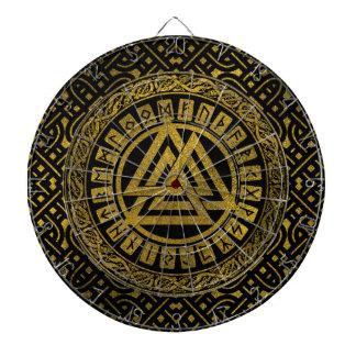 Jeu De Fléchettes Symbole métallique de Valknut d'or sur le motif