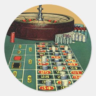 Jeu de jeu de puces de roulette de casino vintage sticker rond
