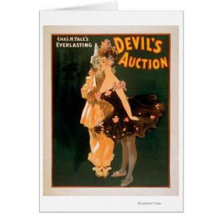Jeu de la vente aux enchères du diable éternel de carte de vœux