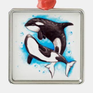 jeu d'orque ornement carré argenté