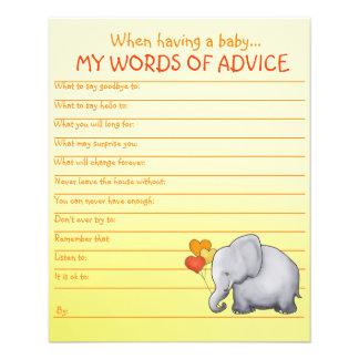 Jeu neutre de conseils de baby shower d'éléphant prospectus 11,4 cm x 14,2 cm