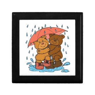 Jeu sous la pluie petite boîte à bijoux carrée