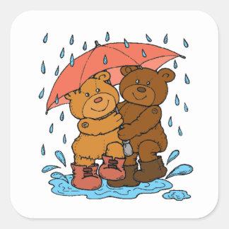 Jeu sous la pluie sticker carré