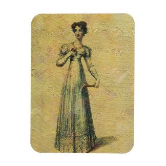 Jeune belle peinture vintage de femme magnets en vinyle