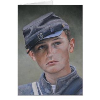 Jeune carte de voeux d'art de portrait de soldat