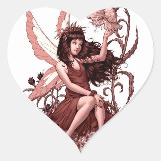Jeune fée avec des fleurs par Al Rio Sticker Cœur