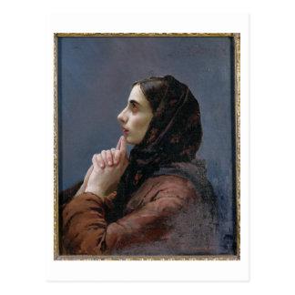 Jeune femme à la prière, 1879 (huile sur la toile) carte postale