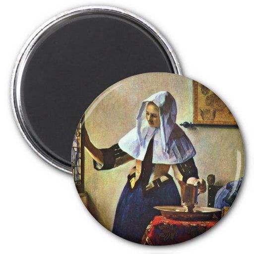 Jeune femme avec un broc de l'eau., par Johannes V Magnets Pour Réfrigérateur