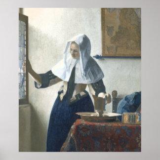 Jeune femme avec un broc de l'eau par Vermeer Poster
