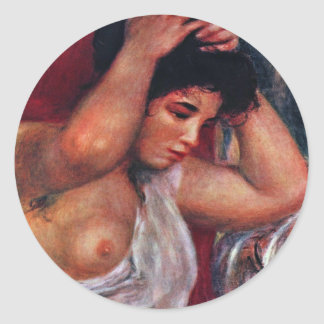 Jeune femme dans la coiffure par Pierre-Auguste Adhésif Rond