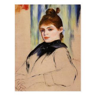 Jeune femme de Pierre Renoir- avec un petit pain Carte Postale