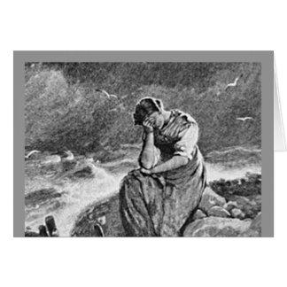 Jeune femme déprimée triste douleureuse carte de correspondance