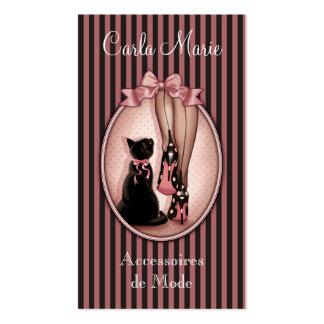 Jeune femme élégante et chat noir carte de visite standard