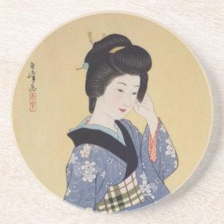 Jeune fille de Hirano Hakuho Dessous De Verre En Grès