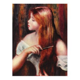 Jeune fille de Renoir peignant sa carte postale de