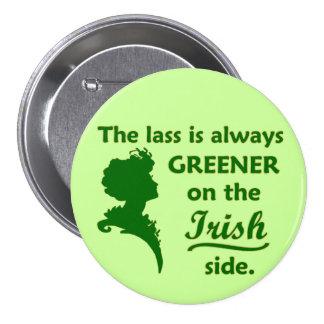 Jeune fille irlandaise verte grande badge rond 7,6 cm
