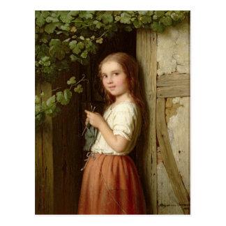 Jeune fille se tenant dans un tricot de porte, carte postale