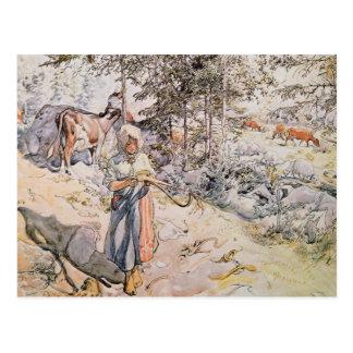 Jeune fille tissant, 1905 carte postale