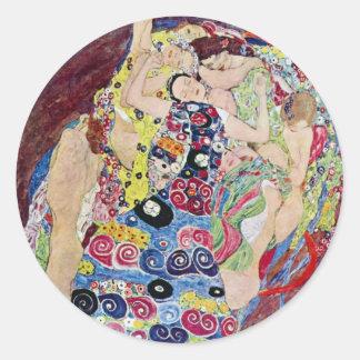 Jeune fille (Vierge), Gustav Klimt, art vintage Sticker Rond