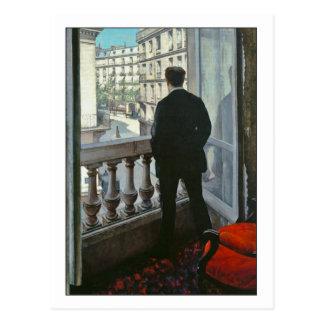 Jeune homme à la fenêtre par Gustave Caillebotte Carte Postale