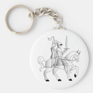 Jeune mariée avec le chevalier dans l'armure brill porte-clé rond