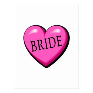 Jeune mariée (coeur noir rose) carte postale