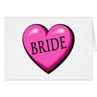 Jeune mariée (coeur noir rose) cartes