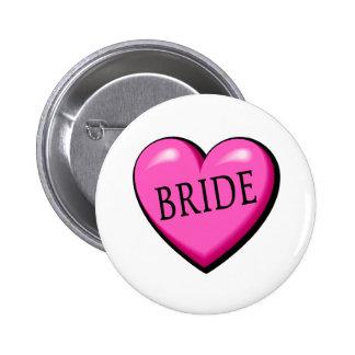 Jeune mariée (coeur noir rose) pin's