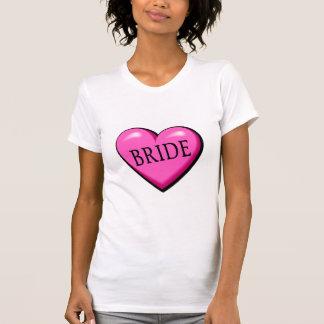 Jeune mariée (coeur noir rose) t-shirts