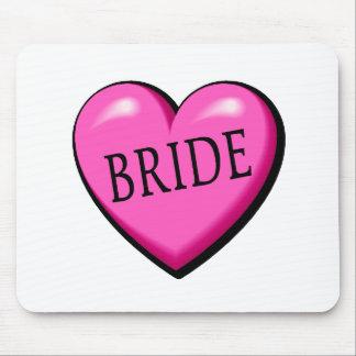 Jeune mariée coeur noir rose tapis de souris