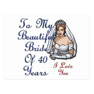 Jeune mariée de 40 ans carte postale