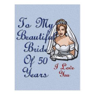 Jeune mariée de 50 ans carte postale