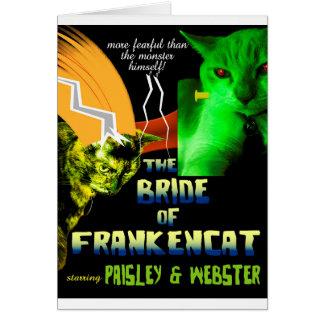 Jeune mariée de carte de Frankencat Halloween
