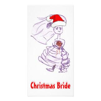 Jeune mariée de Noël Cartes De Vœux Avec Photo