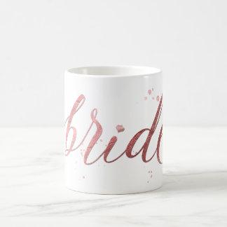 Jeune mariée de PixDezines/or rose de Mug