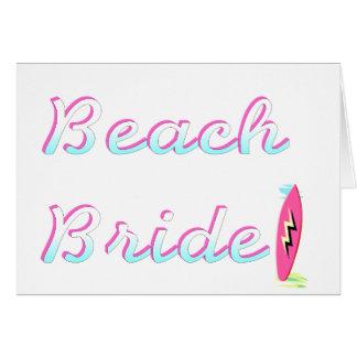 Jeune mariée de plage carte de vœux