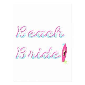 Jeune mariée de plage carte postale