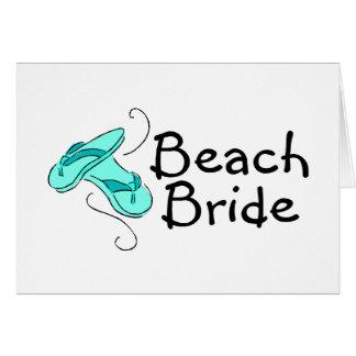 Jeune mariée de plage (mariage de plage) cartes de vœux