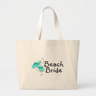 Jeune mariée de plage (mariage de plage) sacs de toile