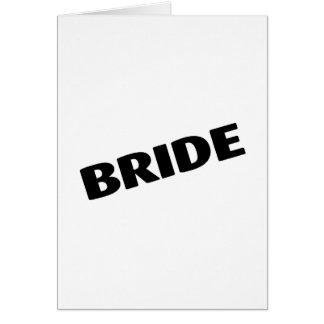 Jeune mariée épousant le noir carte de vœux